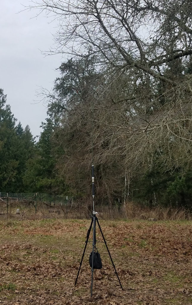 Superantenna deployed on a tripod topped with a Chameleon Mil Whip 2.0.