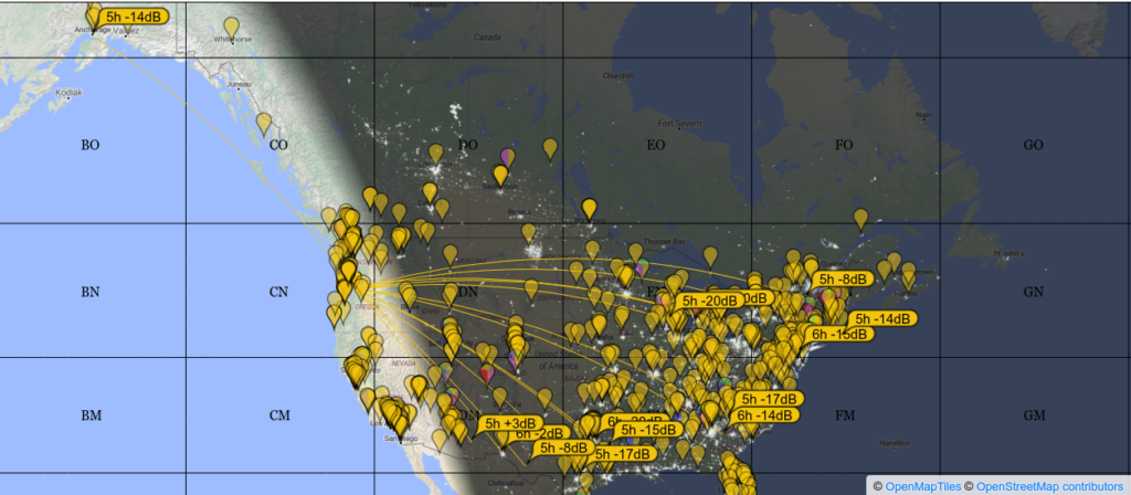 Map showing connections from my station to others in the continental US and AK.