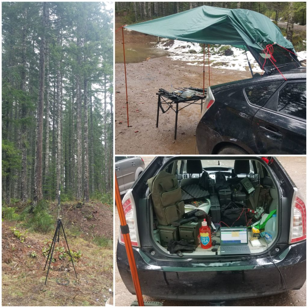 Collage of photos showing my antenna on the left. On the top right is a table covered by a tarp extended from the open hatch back of a Prius to two poles covering a table with a center support extended up from the table top. Various firearms are sitting on the table. On the bottom right is a view inside the open back of the vehicle with disorganized cases, and a radio setup with a tablet.
