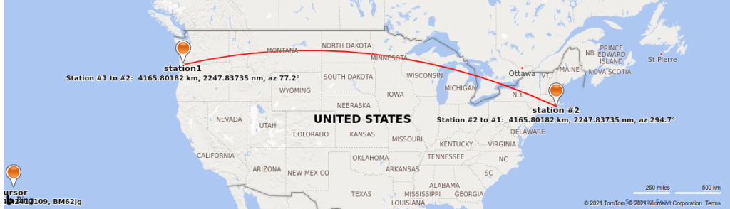 Map showing distance between my station in OR and an east coast US station.