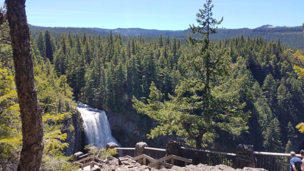 A waterfall, trees, and mountains with a walkway and railing in the bottom of the frame.